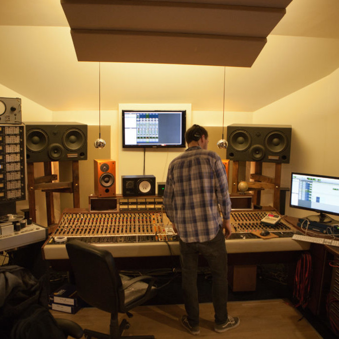 Music producer in the control room
