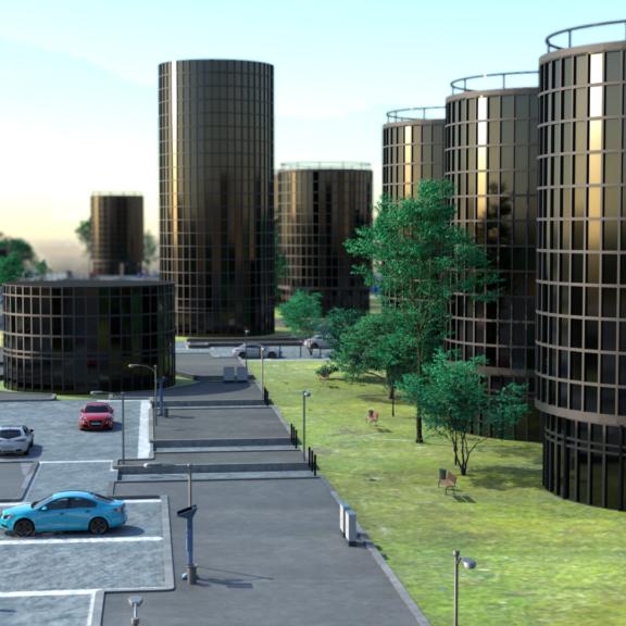 Urban scenery render using Maya