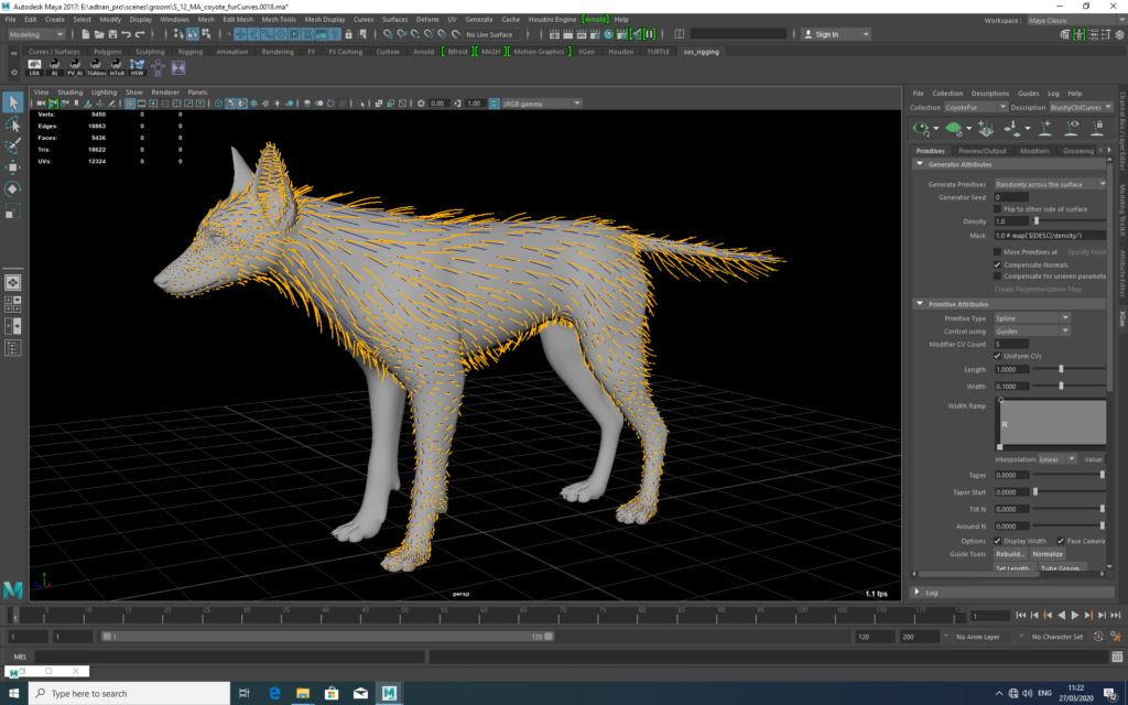 Creating a coyote with particle systems